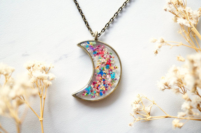 Real Pressed Flowers and Resin Moon Necklace in Party Mix-Shop Here Pravalia