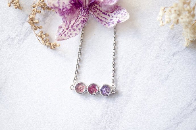 Real Pressed Flowers and Resin Necklace Ombre Pink Purple Bar-Shop Here Pravalia