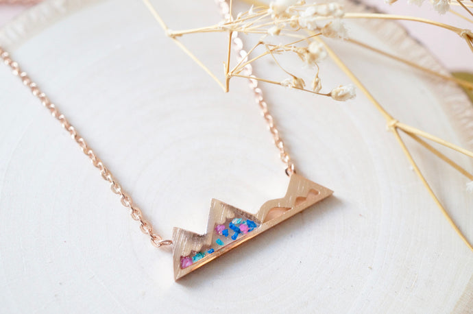 Real Pressed Flowers and Resin Necklace, Rose Gold Mountains in Blue Teal Pink-Shop Here Pravalia
