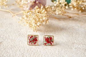 Real Pressed Flowers and Resin Square Stud Earrings in Red and Mint-Shop Here Pravalia