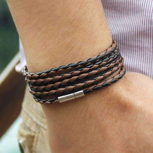 Boys Men Punk Sproty Chain Link Charm Bracelet Bangles Fashion Handmade Wrap Leather-Jewelry and Gifts-Shop Here Pravalia