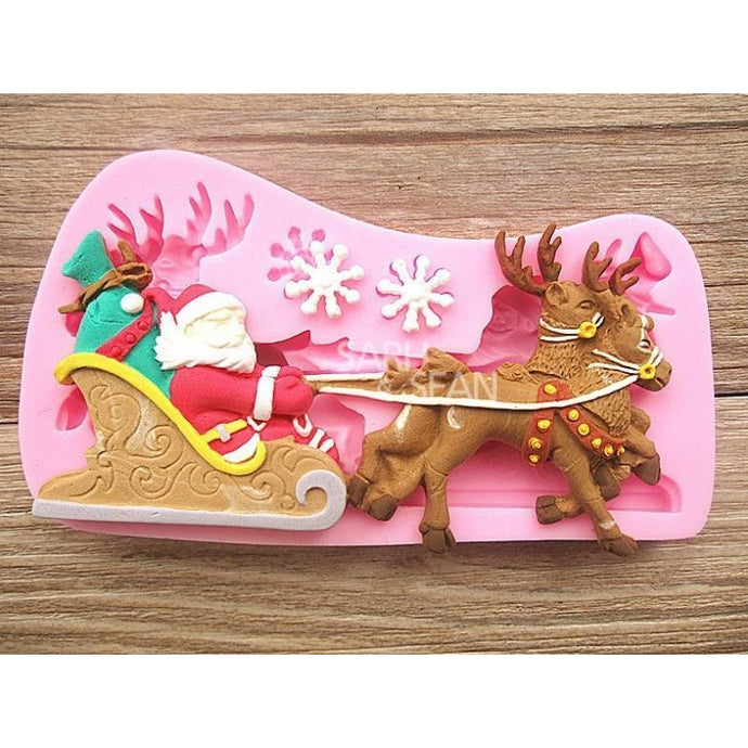 Christmas Santa Claus Reindeer with Sled Snowflake Fondant Chocolate Cake Molds-Kitchen Utensils and Gadgets-Shop Here Pravalia