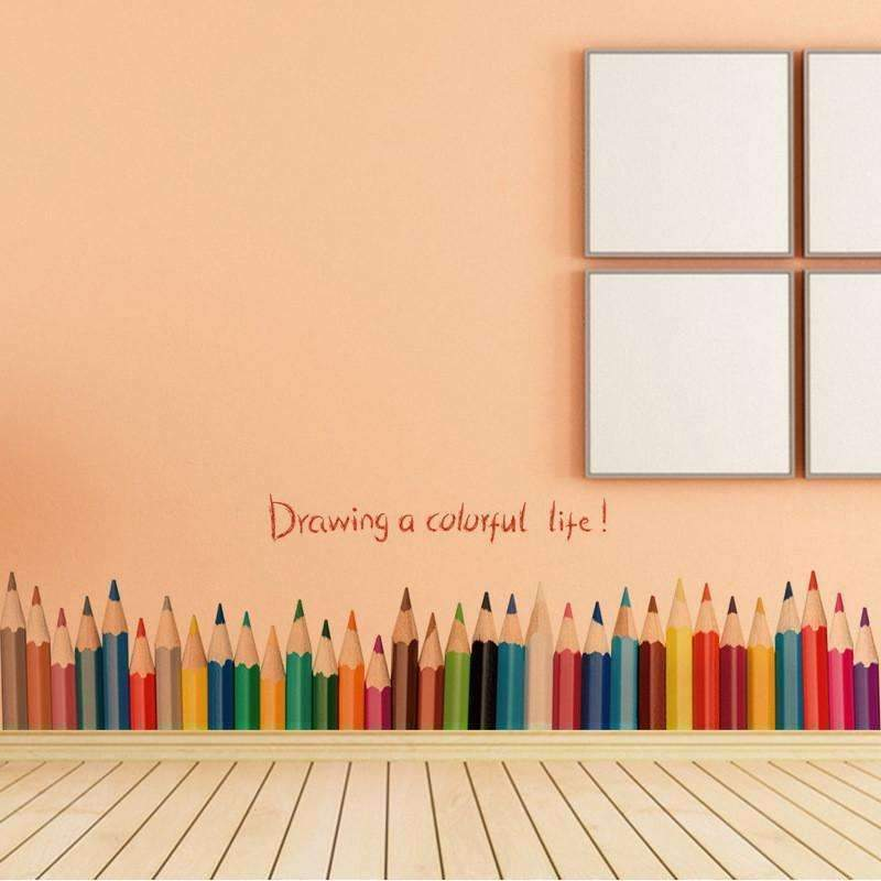 Colorful pen wall sticker for kids rooms Drawing a Colorful Life ...