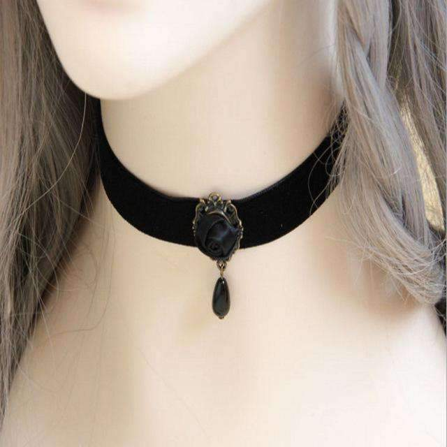 Gothic jewelry black rose necklace & pendant collar handmade jewelry women accessories-Jewelry and Gifts-Shop Here Pravalia