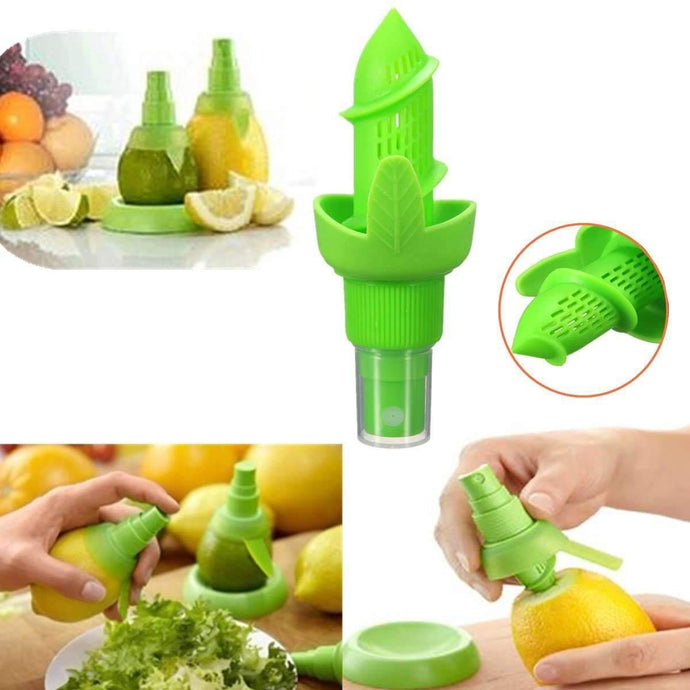 Green Colors Silicone Plastic Lemon Orange Squeezer Juicer Spray Sprayer-Kitchen Utensils ans Gadgets-Shop Here Pravalia