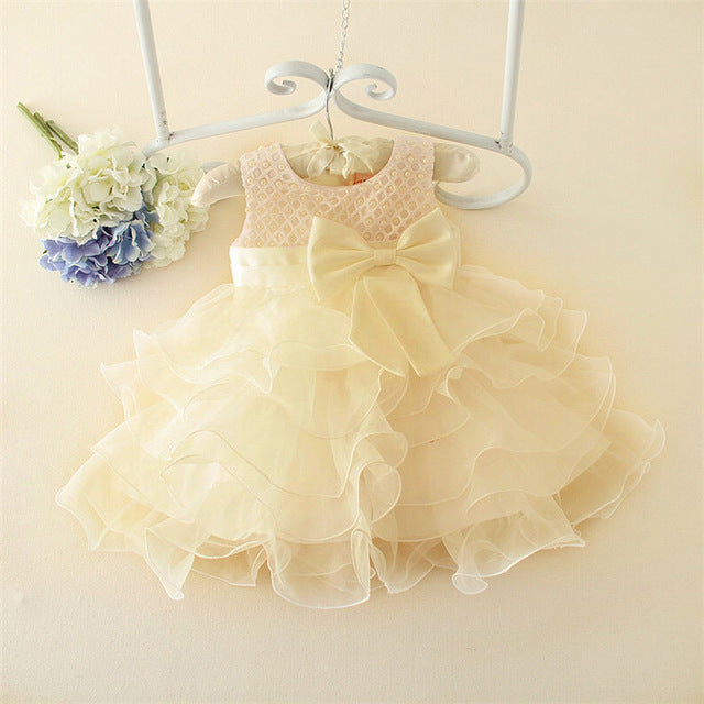 Flower girls wedding dress baby girls christening dresses for party occasion kids 1 year baby girl birthday dress-Shop Here Pravalia