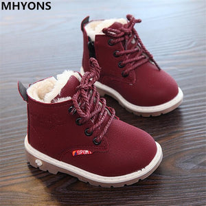 Child snow boots shoes for girls boys boots fashion soft bottom baby girls boot 21-30 autumn winter child boots shoe-Shop Here Pravalia