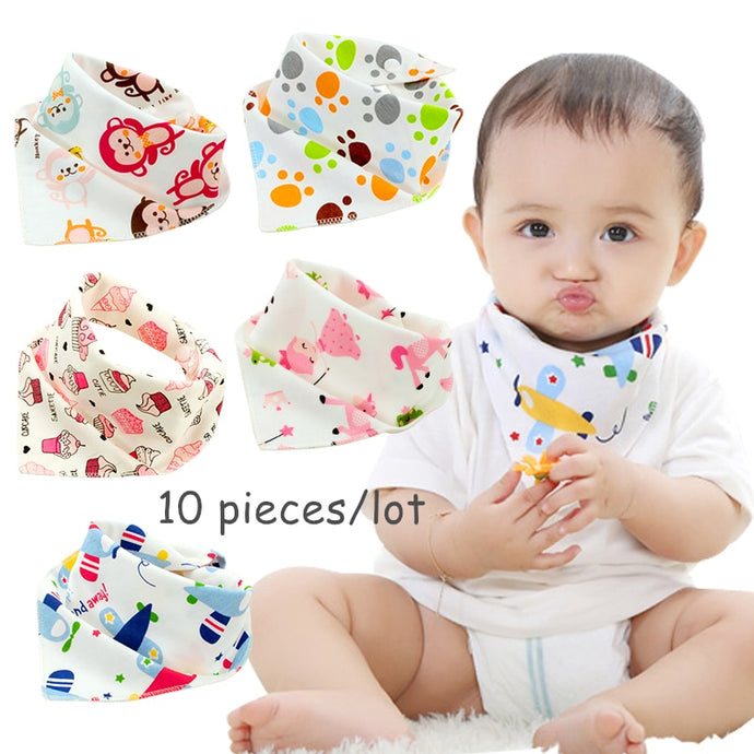 10 pieces/lot Cotton Baby Bandanna Bibs for Babies Scarf Boys Girls Baby Bib Burp Cloths-Shop Here Pravalia