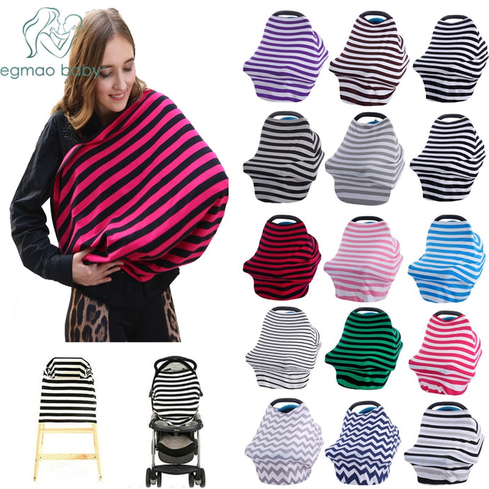 Baby Car Seat Cover Canopy Nursing Cover Multi-Use Stretchy Scarf Breastfeeding Shopping Cart Cover-Shop Here Pravalia