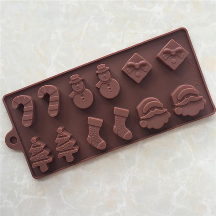 Silicone Cake Chocolate Molds Christmas Tree Socks Snowman Santa Claus Chocolate Molds-Kitchen Utensils and Gadgets-Shop Here Pravalia