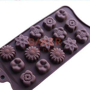 Silicone Chocolate Molds Silicone Mold 15 Beautiful Flowers Shape Chocolate Candy Mold-Kitchen Utensils and Gadgets-Shop Here Pravalia