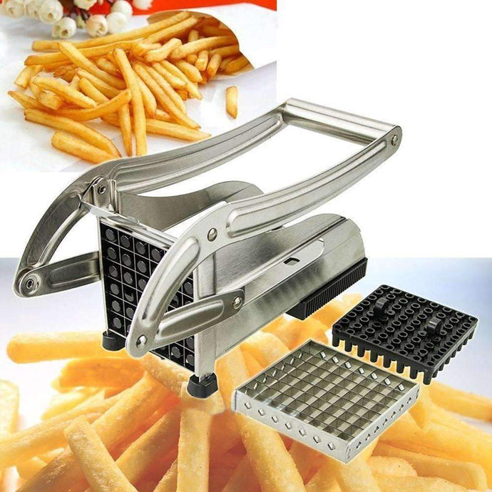 Stainless Steel French Fry Cutter Potato Vegetable Slicer Chopper Dicer 2 Blades-Kitchen Utensils ans Gadgets-Shop Here Pravalia