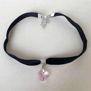 Unisex Women Men Lover Gothic Velvet Heart Crystal Choker Handmade Necklace Pendant Torques Retro-Jewelry and Gifts-Shop Here Pravalia