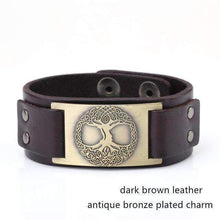 Wicca Tree of Life Vintage Charm Jewelry Adjustable Saver Clasp Studded Cuff Leather Men-Jewelry and Gifts-Shop Here Pravalia