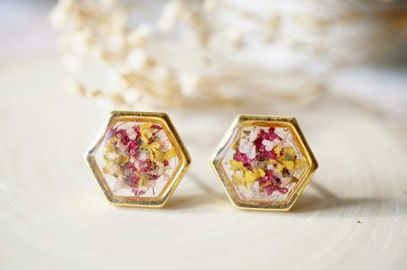 Real Pressed Flowers and Resin Hexagon Gold Stud Earrings in Yellow Pink Magenta-Shop Here Pravalia