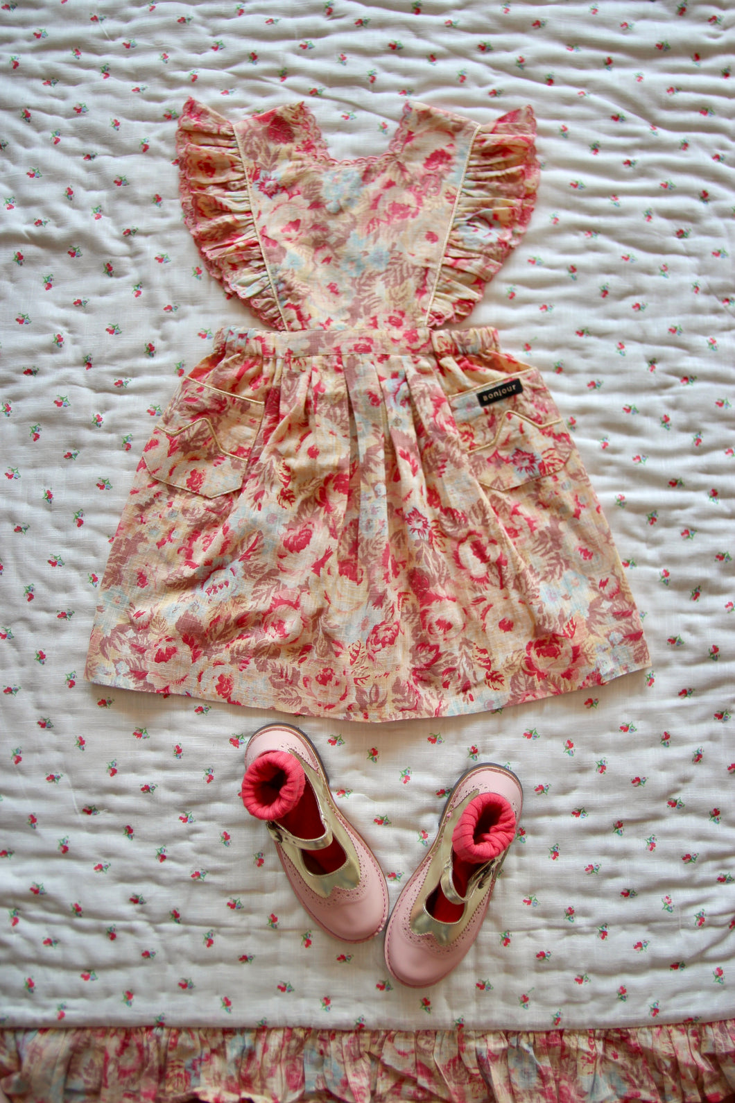 APRON DRESS | FADED ROSE PRINT