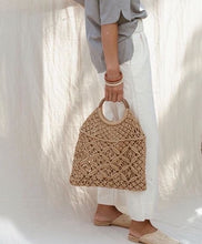 CROCHET HANDBAG WITH WOODEN HANDLE (ONLY 1 LEFT)