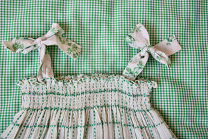 LONG SKIRT DRESS WITH FLORAL EMBROIDERY | GREEN CHECK