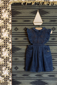 APRON DRESS WITH EMBROIDERY DENIM