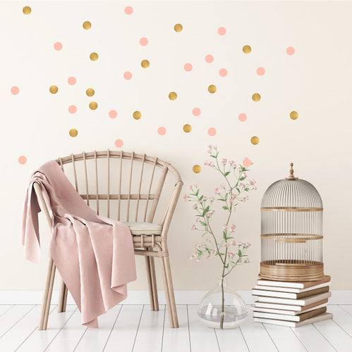 POM LE BONHOMME POLKA DOT WALL STICKERS GOLD/PINK