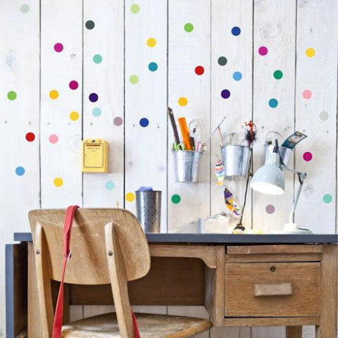 ●60%OFF● POM LE BONHOMME  POLKA DOT WALL STICKERS MULTI COLOURS