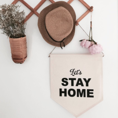 ●50%OFF● WALL BANNER LET'S STAY HOME
