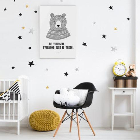 POM LE BONHOMME  STAR WALL STICKERS GOLD/SILVER/BLACK
