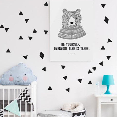 ●60%OFF● POM LE BONHOMME TRIANGLE WALL STICKERS BLACK (Only 1 left!)