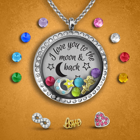 I love you to the moon and back floating charm locket