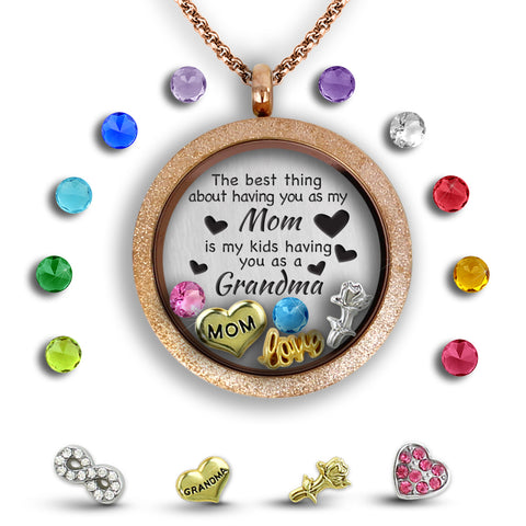 mom grandma floating charm locket