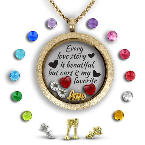 every love story floating charm locket