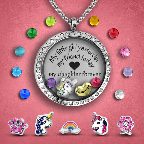 Valentines gift for your daughter - DIY jewelry gift she will love  A personalized necklace, a floating locket necklace chock full of charms