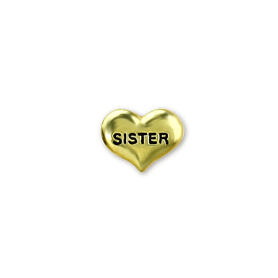 Gold Heart Sister Charm Charm Necklace Charm Tell Me A Charm Floating Charm Lockets
