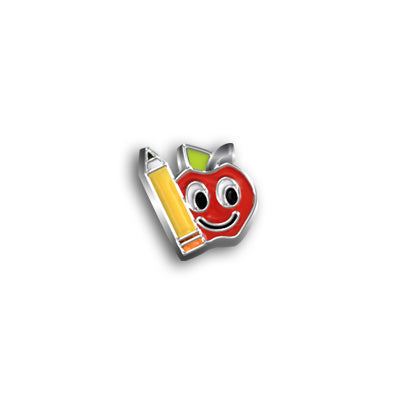 Happy Apple & Pencil Charm
