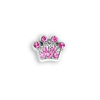 Pink Crystal Crown Charm Charm Necklace Charm Tell Me A Charm Floating Charm Lockets