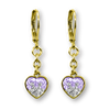 Two Color Crystal Dangle Heart Earrings - 5 Color Choices Girls Earrings - Kids Jewelry A Touch of Dazzle Girls Jewelry