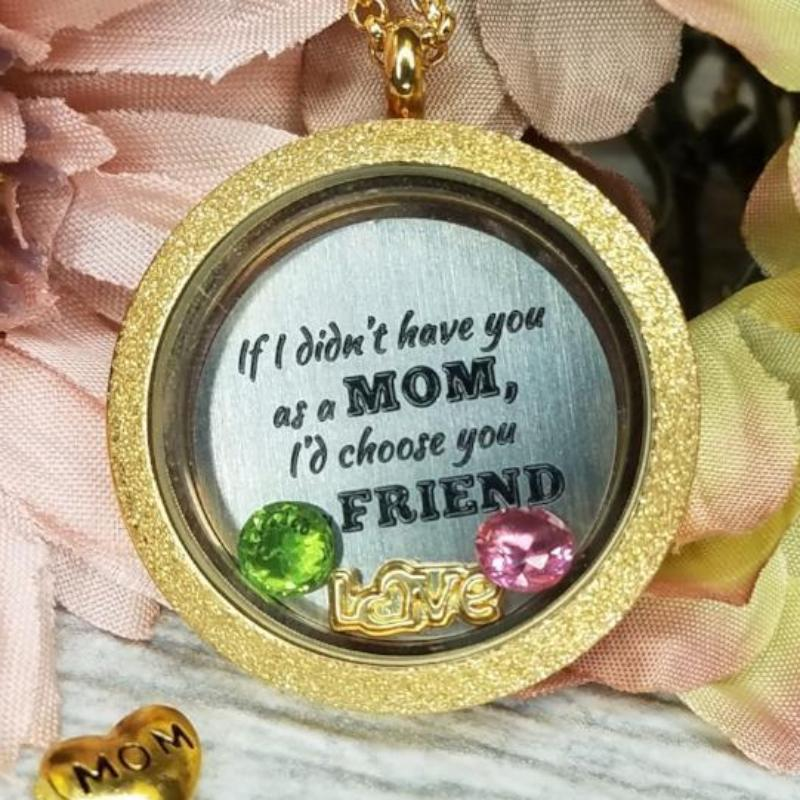Mom Quote Necklace Plate Charm Necklace Plate Tell Me A Charm Floating Charm Lockets