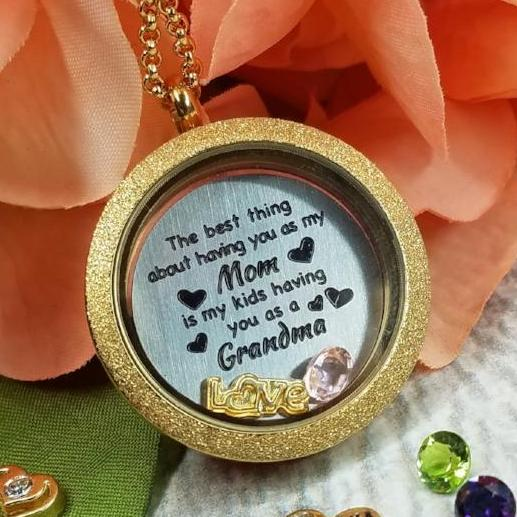Being a Mom Quote plate Charm Necklace Plate Tell Me A Charm Floating Charm Lockets