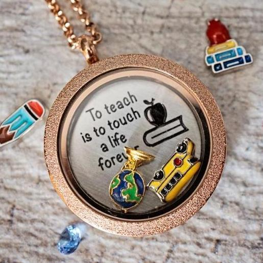 Teachers Touch Lives Charm Necklace Plate Tell Me A Charm Floating Charm Lockets