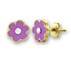 Flower & Crystal Stud Earrings 18K GP - 2 Colors Girls Earrings - Kids Jewelry A Touch of Dazzle Girls Jewelry
