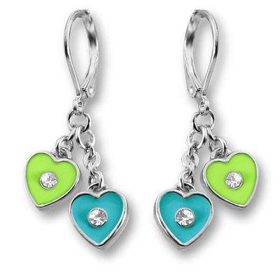 Crystal & Enamel Double Heart Earrings - 4 Color Choices Girls Earrings - Kids Jewelry A Touch of Dazzle Girls Jewelry