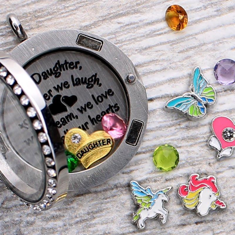 My Daughter Quote Necklace Plate Charm Necklace Plate Tell Me A Charm Floating Charm Lockets
