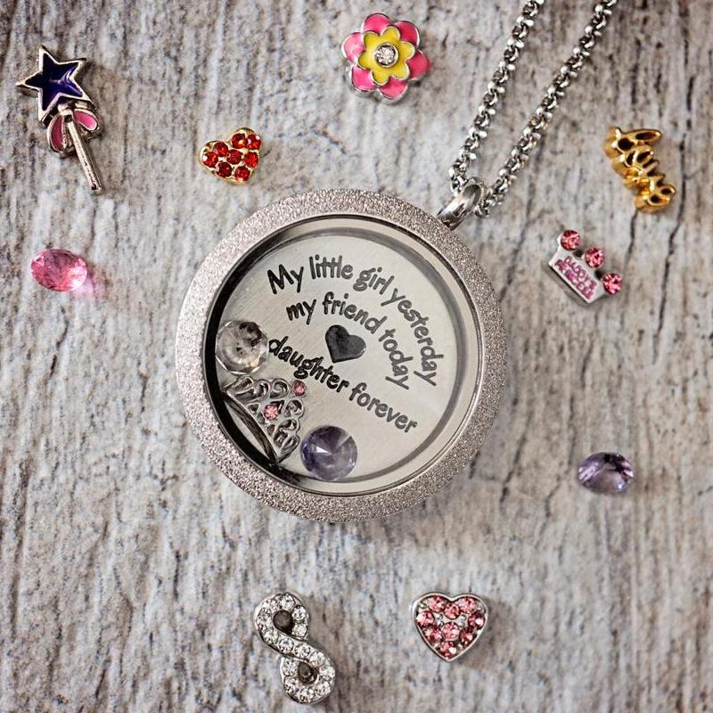Daughter Love Quote Plate Charm Necklace Plate Tell Me A Charm Floating Charm Lockets