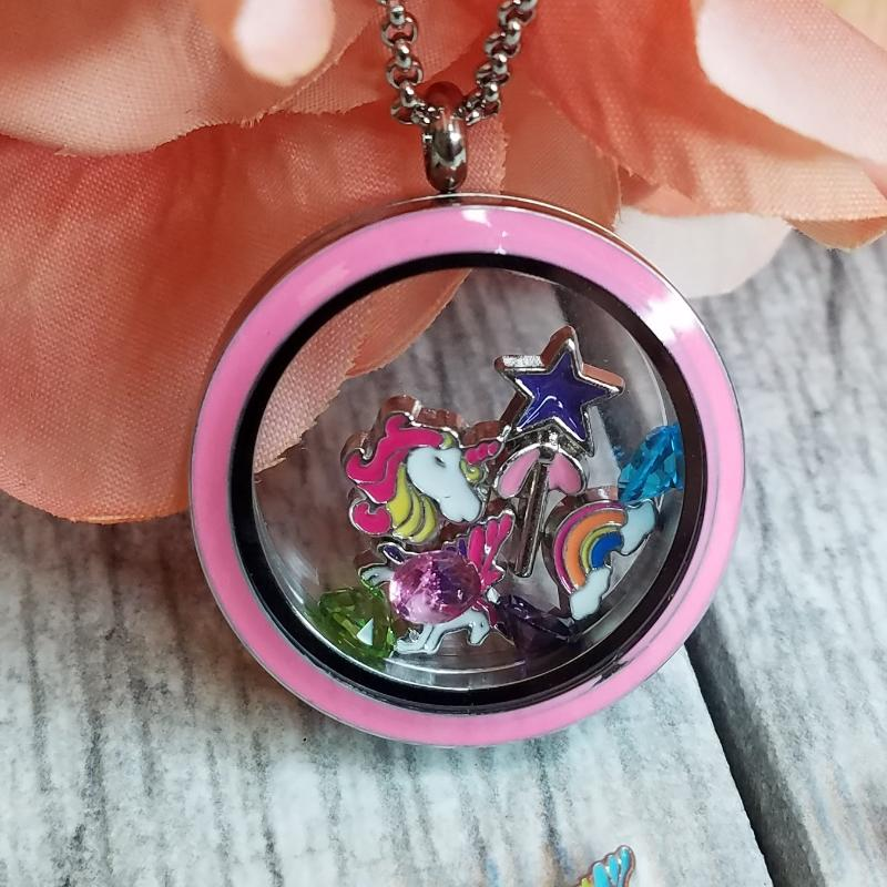 Unicorn Charm - Pink and Yellow