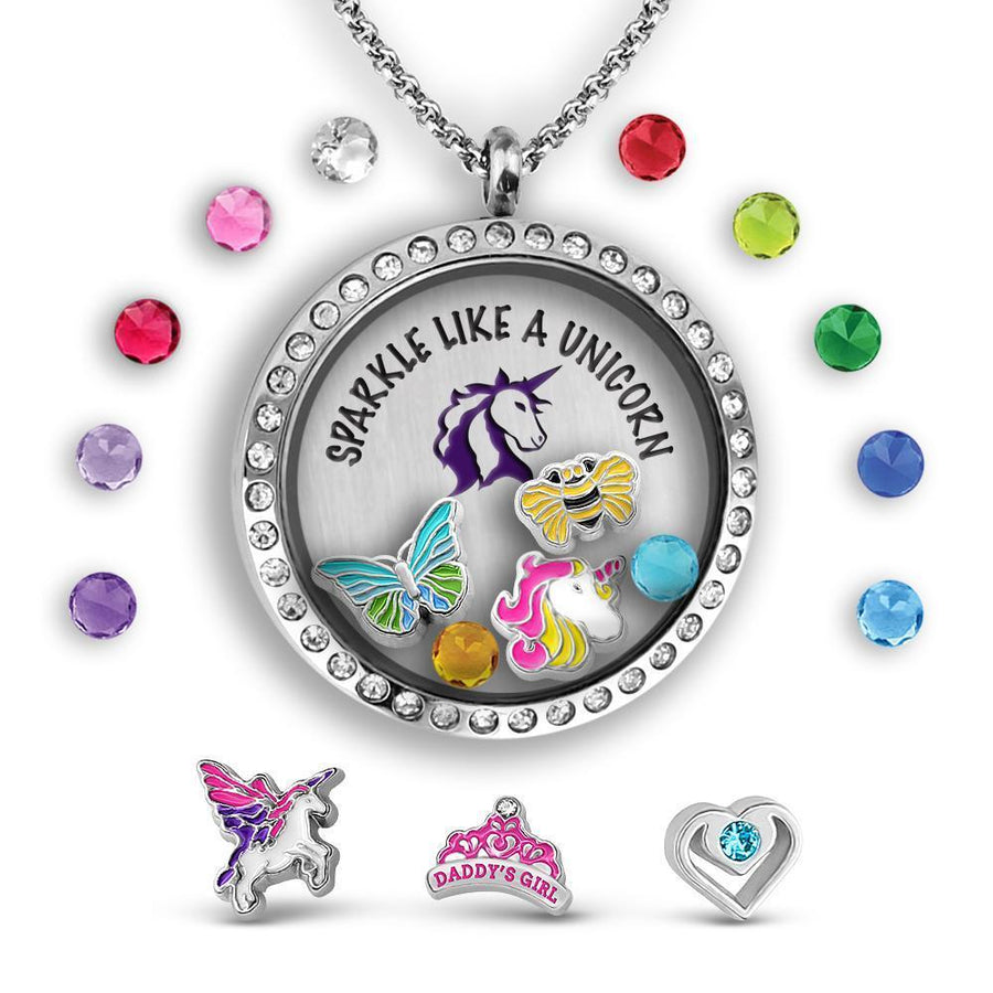 Sparkle Like a Unicorn! Charm Necklace Locket Set Tell Me A Charm Floating Charm Lockets