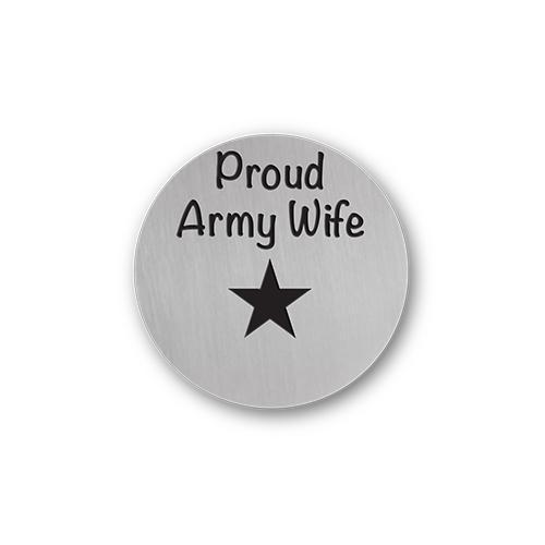 Proud Army Wife Charm Necklace Plate Tell Me A Charm Floating Charm Lockets