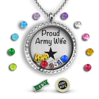 Proud Army Wife Charm Necklace Locket Set Tell Me A Charm Floating Charm Lockets