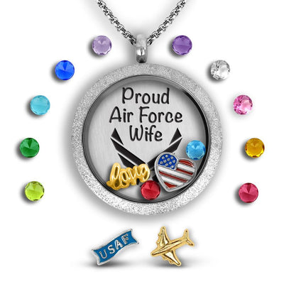 Proud Air Force Wife Charm Necklace Locket Set Tell Me A Charm Floating Charm Lockets