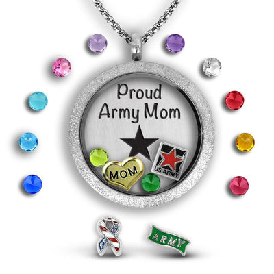 Proud Army Mom Locket Necklace Charm Necklace Locket Set Tell Me A Charm Floating Charm Lockets