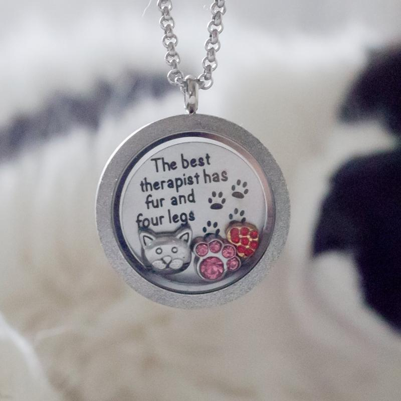 Cat Quote Necklace Plate - Fur Therapist Charm Necklace Plate Tell Me A Charm Floating Charm Lockets